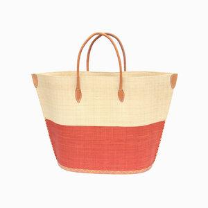 Strandtasche BATO Bicolor Natural / Uni Klein mit Leder Griffen  - frosch und rabe