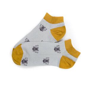 Bumblesocks Sneaker Socken Grau | Senfgelb - bleed