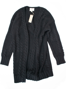 Recycled Chunky Knit Cardigan schwarz Knit Damen - Will's Vegan Shop