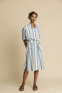 Kleid Damen - Blue Stripes Mandy - thinking mu
