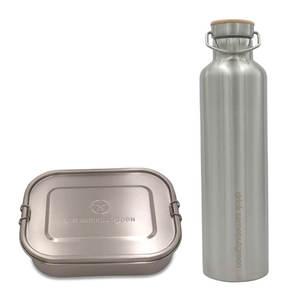 Großes Set: 1.400 ml Edelstahl Lunchbox und 1 l Thermo Trinkflasche  - samebutgreen