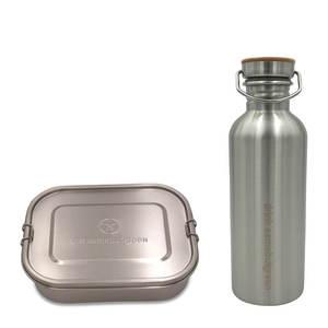 Großes Set: 1.400 ml Edelstahl Lunchbox und 1 Liter Trinkflasche  - samebutgreen