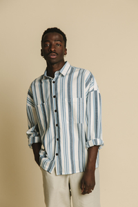 Hemd Herren - Blue Stripes Gambia - thinking mu
