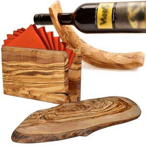 Olivenholz Ambiente-Set: Weinflaschenhalter, Serviettenhalter, Baumscheibe - NATUREHOME