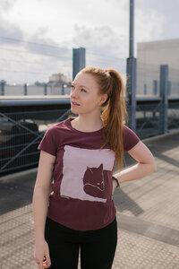 Fox in the box Organic Fair Women Basic Shirt _ washed berry / ILP05 - ilovemixtapes