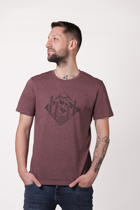 "Herren T- Shirt ""ELWald"" in black heather cranberry - ecolodge fashion"