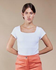 T-Shirt ARIMA gerippt in weiß - JAN N JUNE