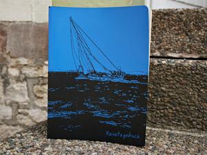 'Reisetagebuch' NOTIZHEFT DIN A4  - shop handgedruckt