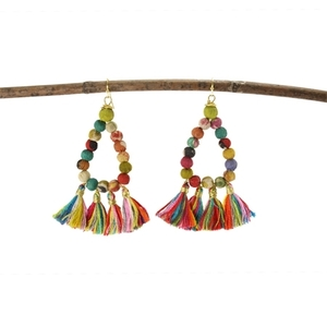 Kantha Ohrring fringed Teardrop - Worldfinds