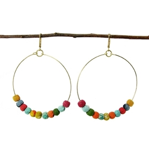 Kantha Ohrringe Beaded Hoop - Worldfinds