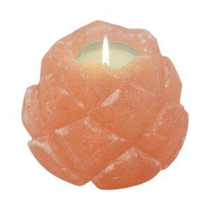 Teelichthalter aus Salz Lotusblüte Salzkristall - Mitienda Shop