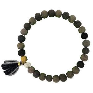Kantha Armband Noir Tassel - Worldfinds
