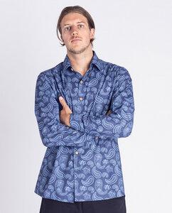 Herren Hemd mit Print aus Bio-Baumwolle - Paisley - blau  - Degree Clothing