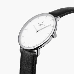 Armbanduhr Native Silber | Weißes Ziffernblatt - Veganes Leder - Nordgreen Copenhagen