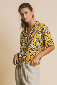 Lomami S/L Blouse abstract flowers - thinking mu