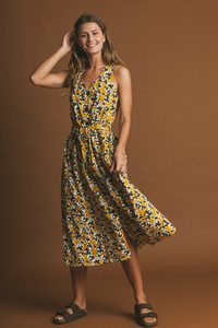 Abstract Flowers Jolie Dress - thinking mu