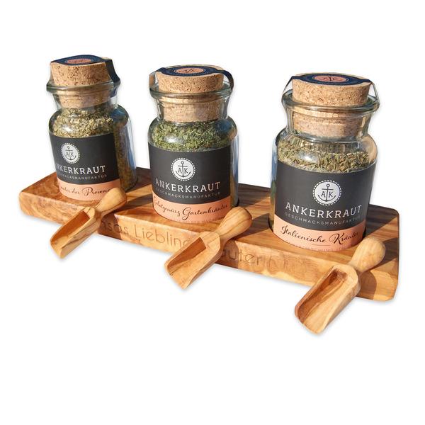 3er Gewürzset Ankerkraut Auf Olivenholz-untersetzer Inkl. Löffel Mit Gravur