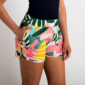 Tencel Shorts - Sandvika Collage Leaves - Pink  - DEDICATED