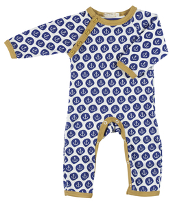 Baby Strampler mit Ankermotiven, Farbe: blau - Organics for Kids