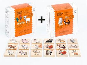 """Zirben-Memo KOMBI-Box """"Tiere vom Bauernhof & Tiere aus dem Wald"""" - SPIELZ - Spiel mit Zirbenholz"""