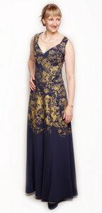 Abendkleid Golden Roses - Peaces.bio - handbedruckte Biomode