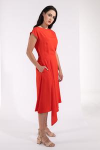 Sommerkleid, Cocktailkleid in Rot mit Schlitz am Rücken mit Taschen - SinWeaver alternative fashion