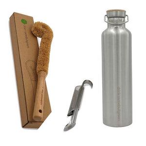 Tee-Set | Thermo Edelstahl Trinkflasche, Teesieb und Flaschenbürste - samebutgreen