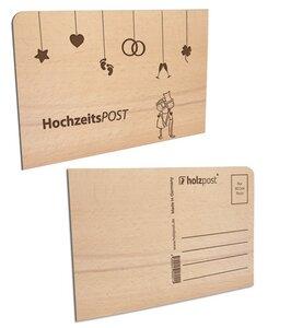Hochzeits-Postkarte aus Holz - holzpost