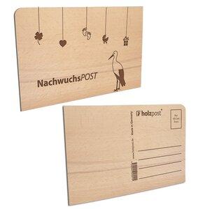 Nachwuchspost Postkarte aus Holz - holzpost