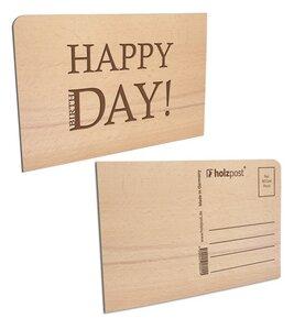 """Postkarte aus Holz """"HAPPY DAY"""" - holzpost"""