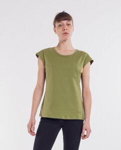Damen T-Shirt Brusttasche   Oliva - Degree Clothing