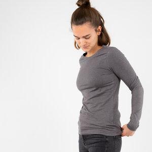 Longsleeve Damen - Bio-Baumwolle + rec. Polyester - schwarz/grau - Vresh