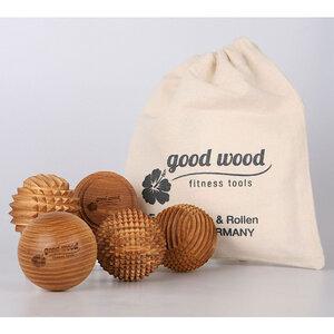 Massage 5er Set /Faszien -Trigger -Igel-Holz-Bälle. Handgemacht. Eschenholz - Good Wood Sports