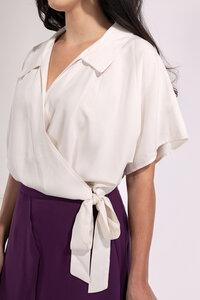 Wickelbluse mit Schleife kurzarm Creme-Weiß - SinWeaver alternative fashion