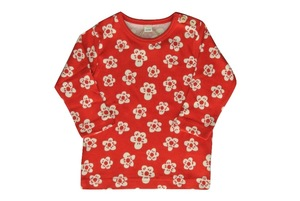 Baby Shirt LA rot mit Blümchen Bio - Leela Cotton