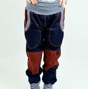 Kinder-/Baby-Mitwachs-Jeans blau mit Taschen und rostbraunen Cordflicken - Omilich