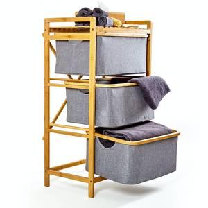 Wäschekorb mit 3 Etagen | Wäschesammler Badregal Aufbewahrung - Bambuswald