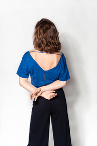 "Leinen-Shirt ""Lara"" aus fairem nachhaltigem Leinen - BLAU - FREIRAUMREH"