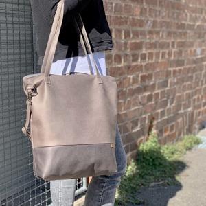 Shopper & Umhängetasche aus Lederfaserstoff mit Reißverschluss - BOWLEANIES TASCHEN