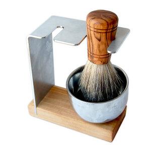 Rasierständer/-halter SYLT PLUS Metalltiegel mit Rasierpinsel Sir George vegan aus Olivenholz - Olivenholz erleben