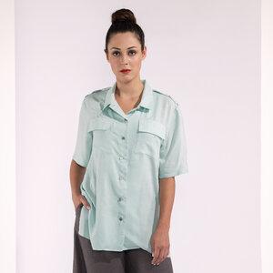Hemdbluse lang mit Schulterklappen türkis mit leichtem Muster - SinWeaver alternative fashion