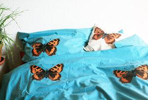 Bio-Bettwäsche 'Schmetterling' in türkis handbedruckt - Hirschkind