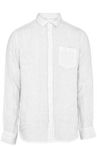 Hemd - Garment Dyed Linen Shirt - Total Eclipse - KnowledgeCotton Apparel