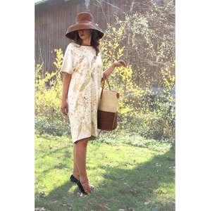 Naturdruck - Fledermaus Ärmel Kleid, Bio Pima Baumwolle - B.e Quality