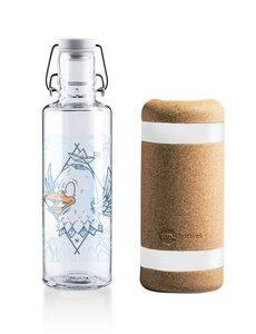 """*SET* soulbottle 0,6l • Trinkflasche aus Glas • """"Rips auf Reisen"""" + soulsleeve Schutzhülle aus Kork - soulbottles"""