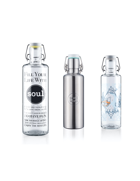 "*FAMILY-SET* soulbottle 1,0l ""Fill your life with soul"" + soulbottle steel 0,6l ""Basic"" + soulbottle 0,6l • ""Rips auf Reisen"""