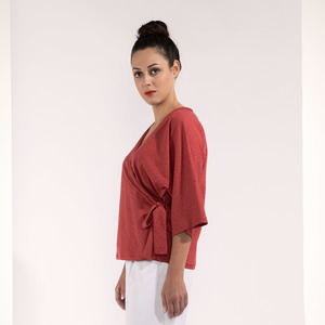 3/4 Arm-Shirt Wickeloptik mit Schleife koralle-rot - SinWeaver alternative fashion