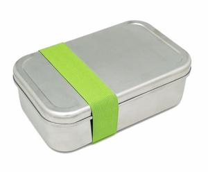 Edelstahl Lunchbox XL mit grünem Gummiband - DS