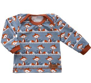 Babyshirt aus Biojersey kleiner Fuchs - grau - Omilich
