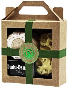 Geschenkset :Seifendose aus Flüssigholz, Dudu Osun Seife, Naturschwamm - Unicorn